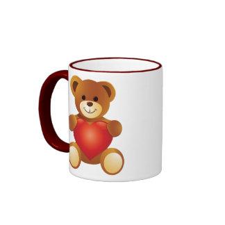 Lovely Cute Bear Holding a Love Heart Ringer Mug