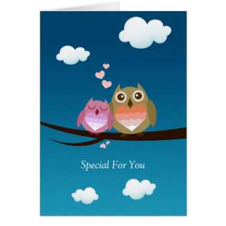 Lovely Cute Owl Couple Full of Love Heart Cards