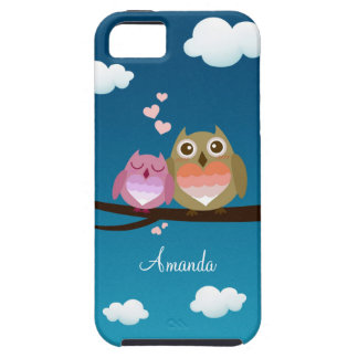 Lovely Cute Owl Couple Full of Love Heart iPhone 5 Case
