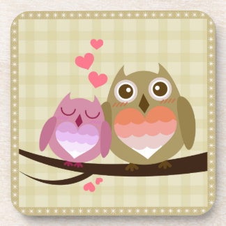 Lovely Cute Owl Couple Full of Love Heart Coasters