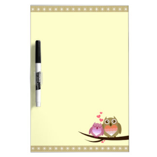 Lovely Cute Owl Couple Full of Love Heart Dry-Erase Boards