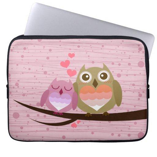 Lovely Cute Owl Couple Full of Love Heart Computer Sleeves