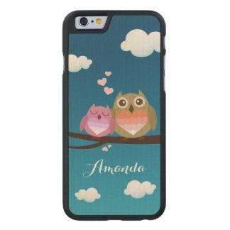 Lovely Cute Owl Couple Full of Love Heart Monogram Carved® Maple iPhone 6 Slim Case