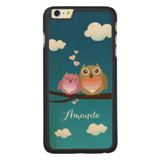 Lovely Cute Owl Couple Full of Love Heart Monogram Carved® Maple iPhone 6 Plus Case
