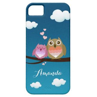 Lovely Cute Owl Couple Full of Love Heart Monogram iPhone 5 Case