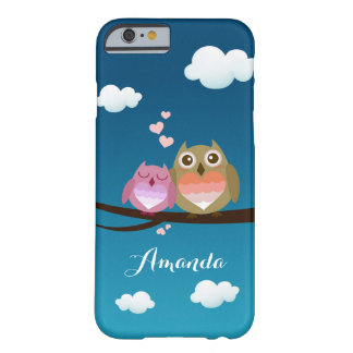 Lovely Cute Owl Couple Full of Love Heart Monogram Barely There iPhone 6 Case