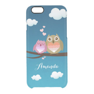 Lovely Cute Owl Couple Full of Love Heart Monogram Uncommon Clearly™ Deflector iPhone 6 Case