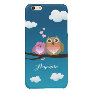 Lovely Cute Owl Couple Full of Love Heart Monogram Glossy iPhone 6 Plus Case
