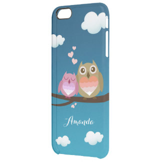 Lovely Cute Owl Couple Full of Love Heart Monogram Uncommon Clearly™ Deflector iPhone 6 Plus Case