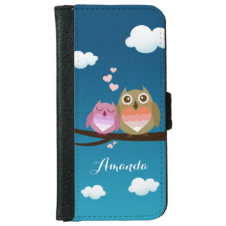 Lovely Cute Owl Couple Full of Love Heart Monogram iPhone 6 Wallet Case