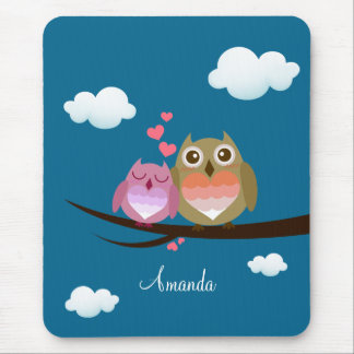 Lovely Cute Owl Couple Full of Love Heart Mousepads