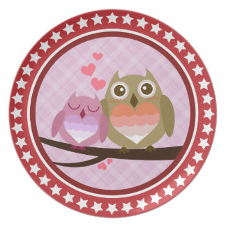 Lovely Cute Owl Couple Full of Love Heart Dinner Plates