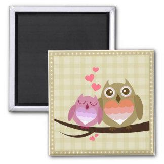 Lovely Cute Owl Couple Full of Love Heart Square Magnet