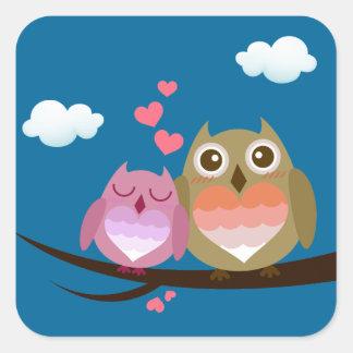 Lovely Cute Owl Couple Full of Love Heart Square Sticker
