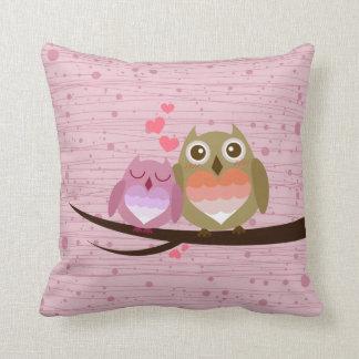 Lovely Cute Owl Couple Full of Love Heart Throw Cushion