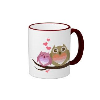 Lovely Cute Owl Couple - Love is Sweet Ringer Mug