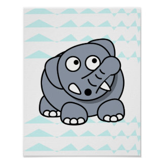lovely elephant on chevron background Nursery baby Poster