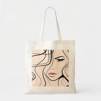 Lovely female face tote bag