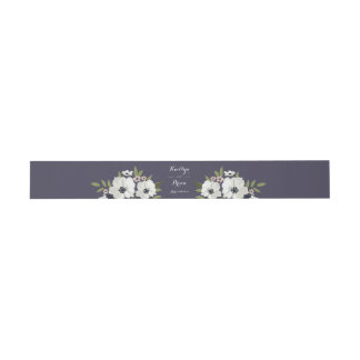 Lovely Floral Invitation Belly Band - purple