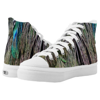 Lovely Green Peafowl Feathers High Tops