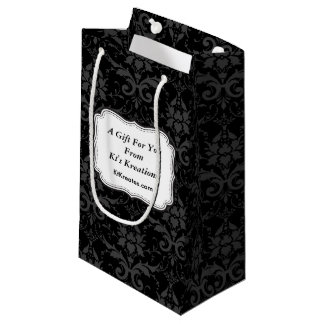 Lovely Labels Black Damask Small Gift Bag