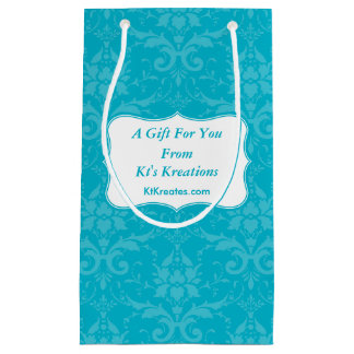 Lovely Labels Blue Damask Small Gift Bag