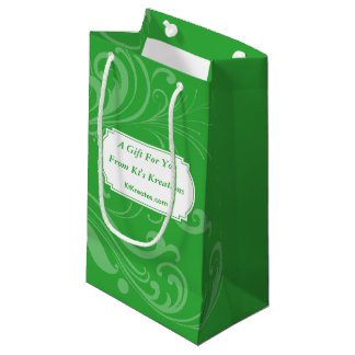 Lovely Labels Green Holiday Elegance Small Gift Bag