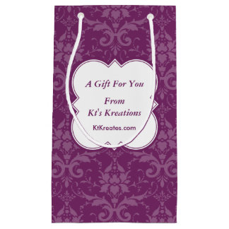 Lovely Labels Purple Damask Small Gift Bag