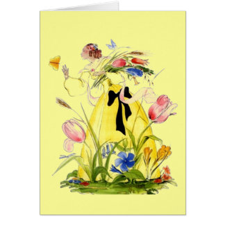 Lovely Lady w/ Flowers & Butterfly THANK YOU Card
