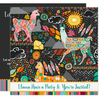 Lovely Llamas Colourful Festive Party Invitation