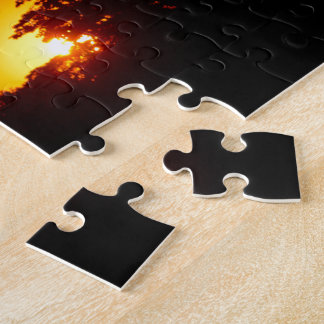 Lovely Orange Sunset with Tree Bird Silhouettes Puzzle