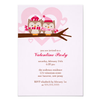 Lovely Owl Couple Valentines Day Celebration 13 Cm X 18 Cm Invitation Card