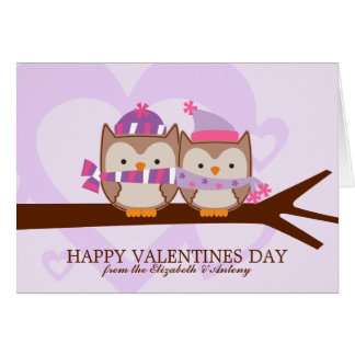 Lovely Owl Couple Valentines Day Note Card