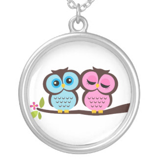 Lovely Owls Round Pendant Necklace