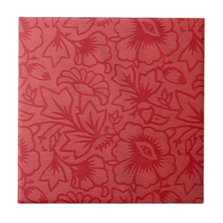 Lovely Red Flowers Small Square Tile