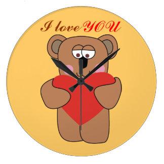 Lovely Teddy Bear with Heart Kids Wall Clocks