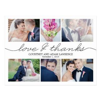 Lovely Writing Wedding Thank You Card - White Postcard
