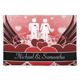 Lovers In Love Winged Hearts Placemat