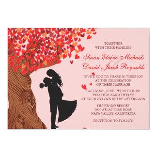 Loving Couple Initials Oak Tree Fall Wedding Invitation