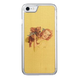 LOVING PUP PIN UP iPhone 5/5s Slim Wood Carved iPhone 8/7 Case