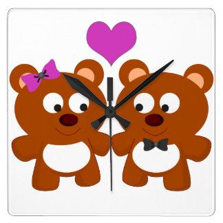 Loving Teddy Bears Wallclock