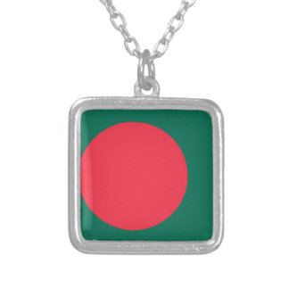 Low Cost! Bangladesh Flag Silver Plated Necklace