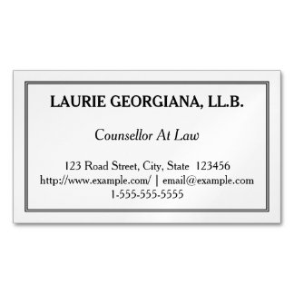 Low-Key Counsellor At Law Magnetic Business Card Magnetic Business Cards