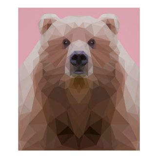 Low poly bear portrait poster