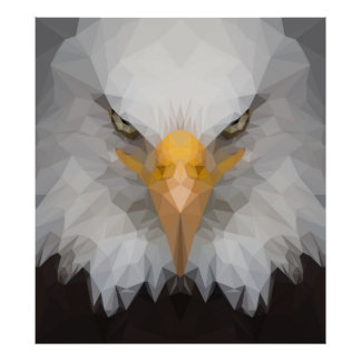 Low poly eagle portrait poster