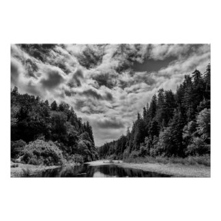 Low River, Cloudy Sky Poster