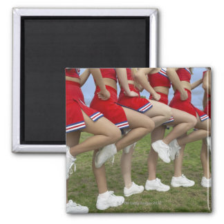 Low Section View of a Group of Cheerleaders Square Magnet