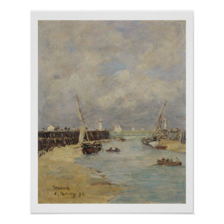 Low Tide at Trouville, 1895 (oil on panel) Poster