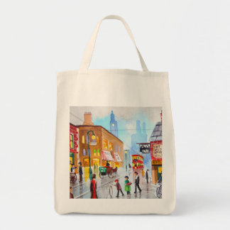 Lowry inspired busy street scene painting tram tote bag