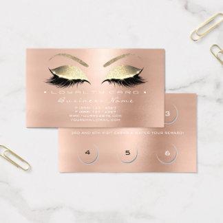 Loyalty Card 6 Beauty Salon Lashes Rose Pink Gold